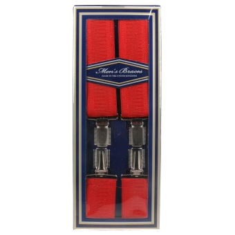 MENS RED 35MM 4 CLIP BRACES/SUSPENDERS