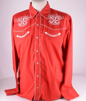 Mens Red Western Shirt Star 320