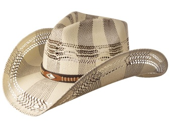 Straw Hat - Diamond Concho - Ivory & Brown Weave