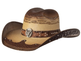 Straw Hat - Steer Skull - Tan & Brown