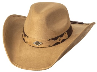 Suede Like Hat - Diamond Concho - Camel