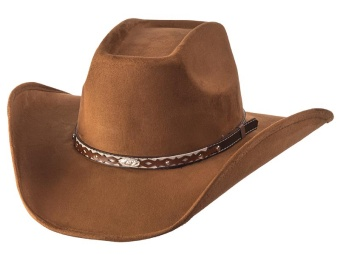 Suede Like Hat - Leather Band - Burnt Sienna
