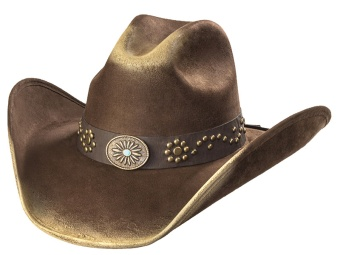 Suede Like Hat - Sunburst Concho - Brown & Camel