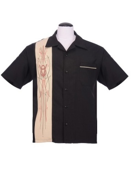 V8 Pinstripe Panel Black/Stone Shirt