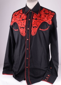 Western Shirt Black with Red Emroidery