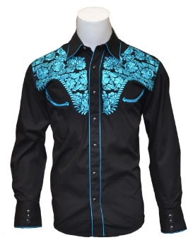 Western Shirt Black with Turquise Emroidery
