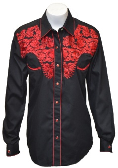 Womens Tooled Black Western Shirts, Red Embroidery