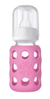 Pink - 120 ml Glass Baby Bottle - Lifefactory