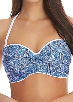 Freya - Summer Tide Denim Twist Front Bandeau Bikini Top