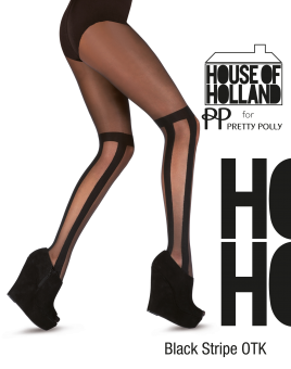 House of Holland for Pretty Polly Black stripe OTK