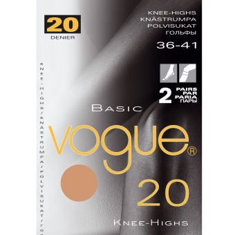 Vogue Basic Knee 20 den 2-pack