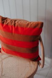 Cushion Soft Stripe 50x50 Red/Brown