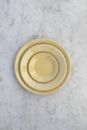 Enamel Dinner Plate Dust Light Yellow