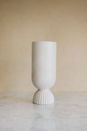 Ribbed Fower Vase White