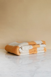 Frotté Stripe Bath Towel Warm yellow