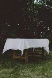 Linneduk White  140x250 cm