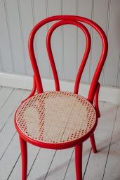 Stol TON No.18 Röd/Flätad Sits