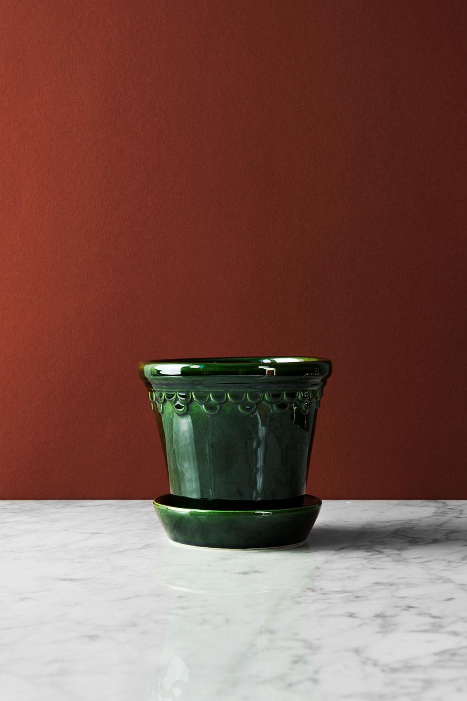 Köpenhamn Kruka Glaserad Grön 12cm