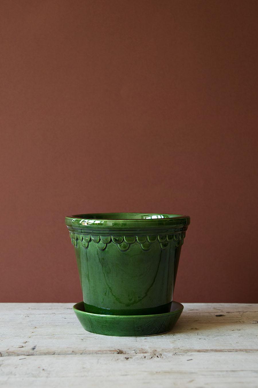 Köpenhamn Kruka Glaserad Grön 18cm