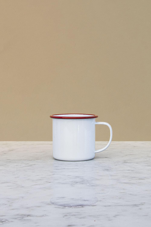 Kaffemugg Emalj Röd Kant
