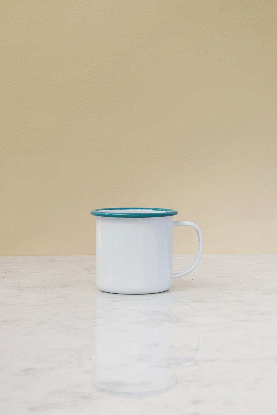 Kaffemugg Emalj Turkos Kant