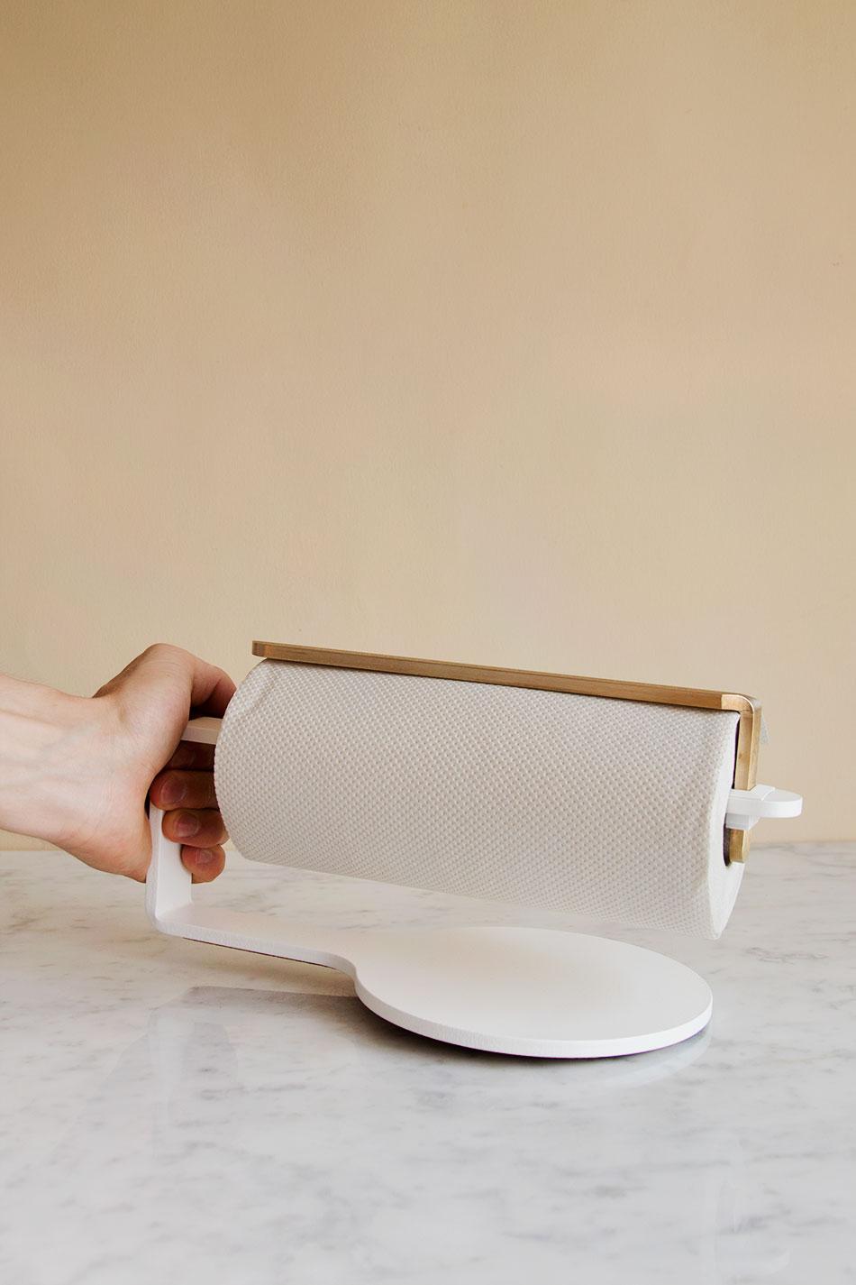 Hushållsrullehållare Vit/Mässing