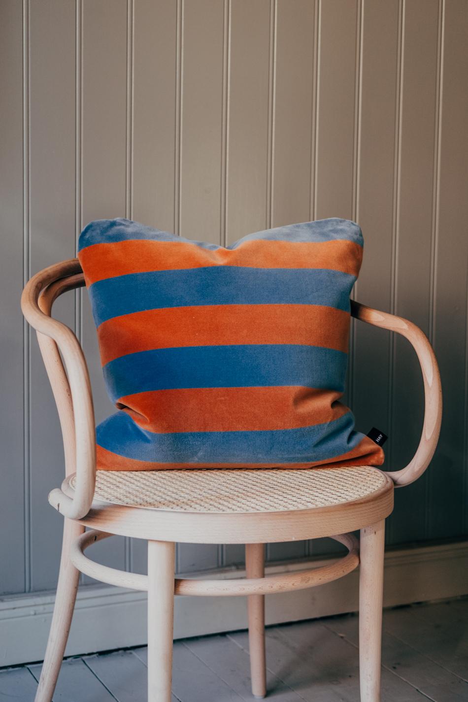 Cushion Soft Stripe 50x50 Blue/Brown