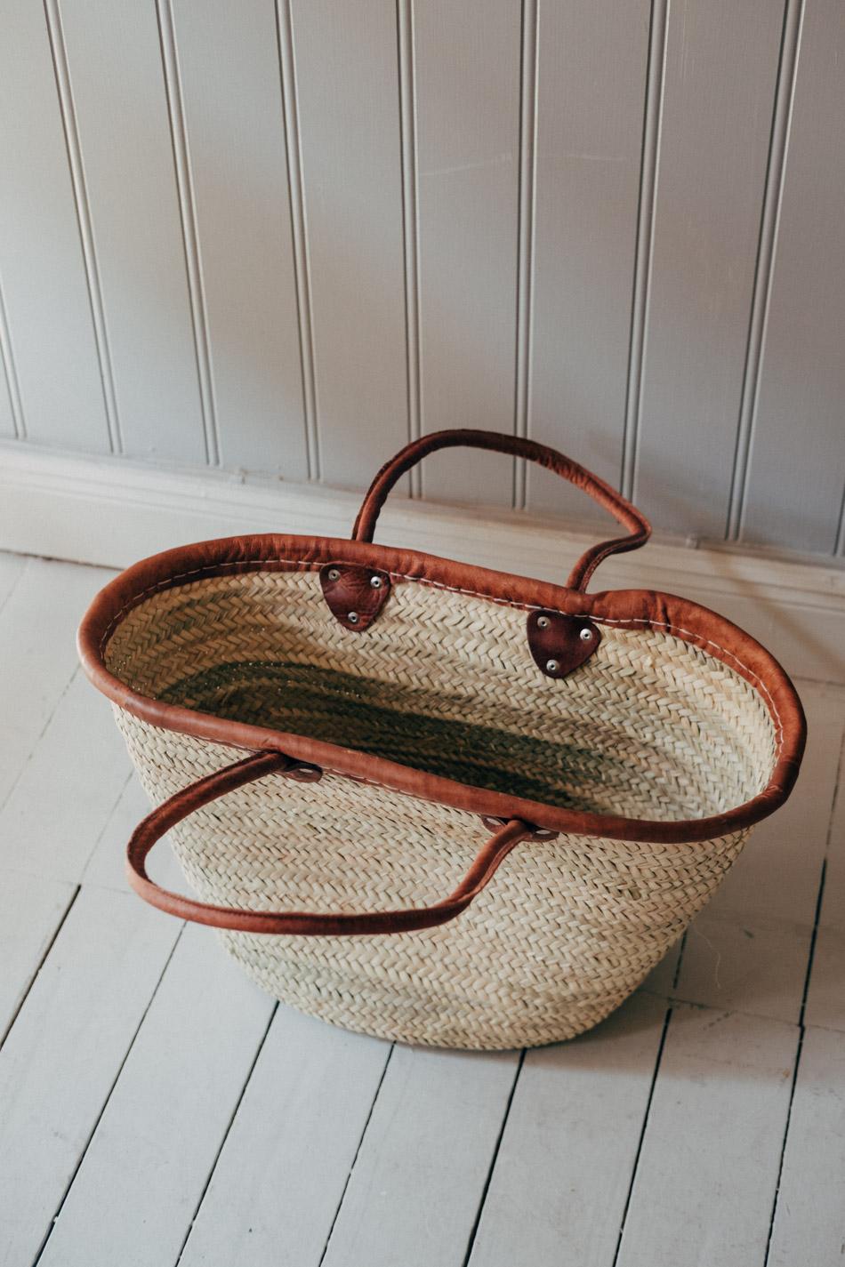 Straw Basket Leather Handle