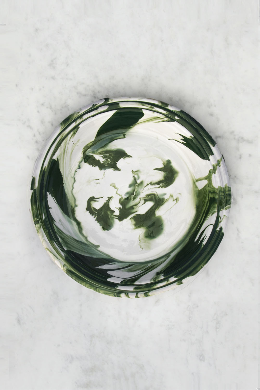 Swirl Bowl Green Splash