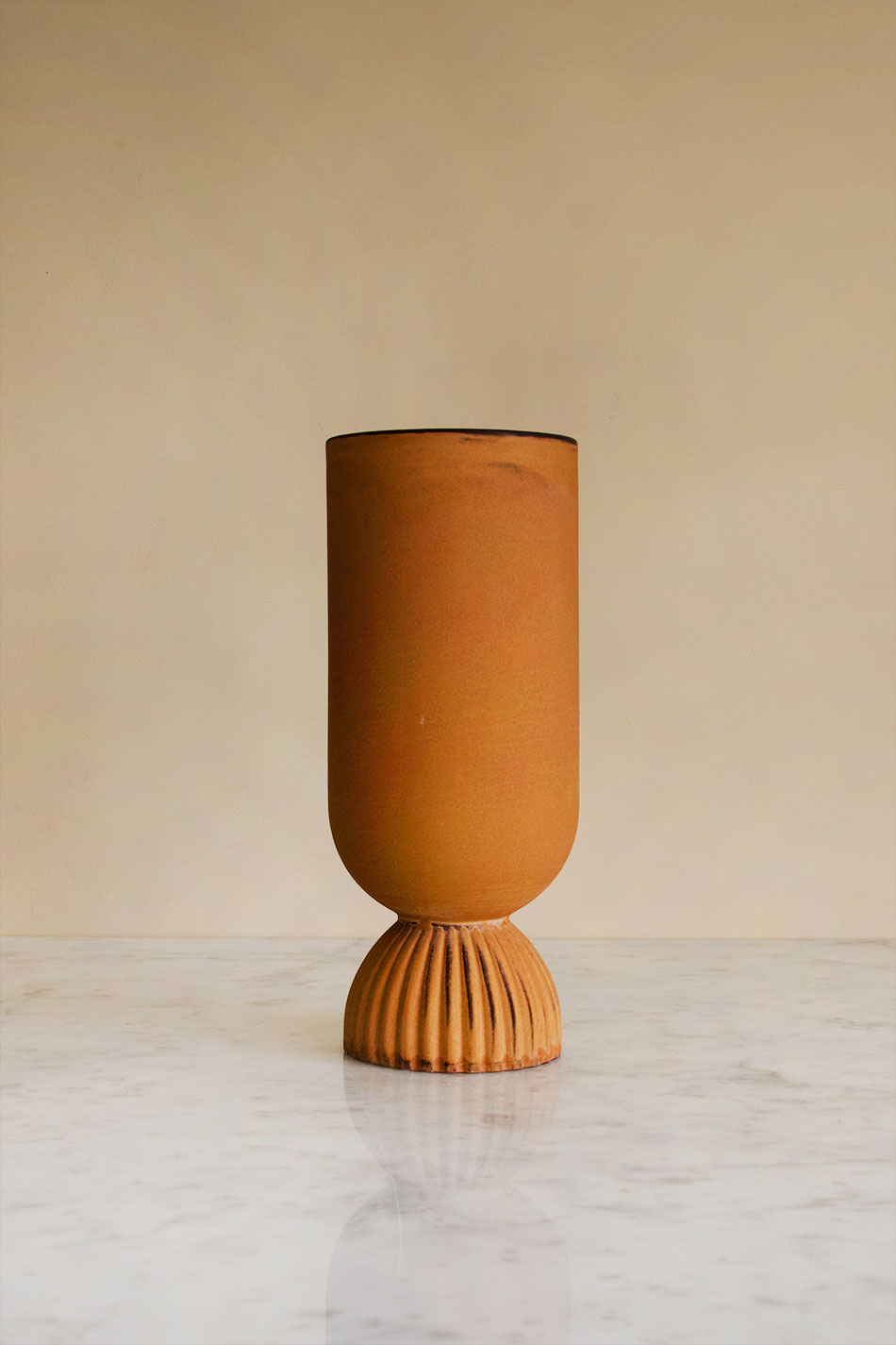 Ribbed Fower Vase Terracotta