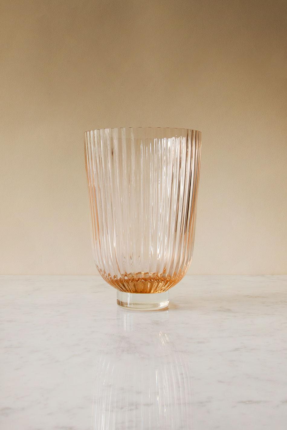 Ribbed Vase Peach
