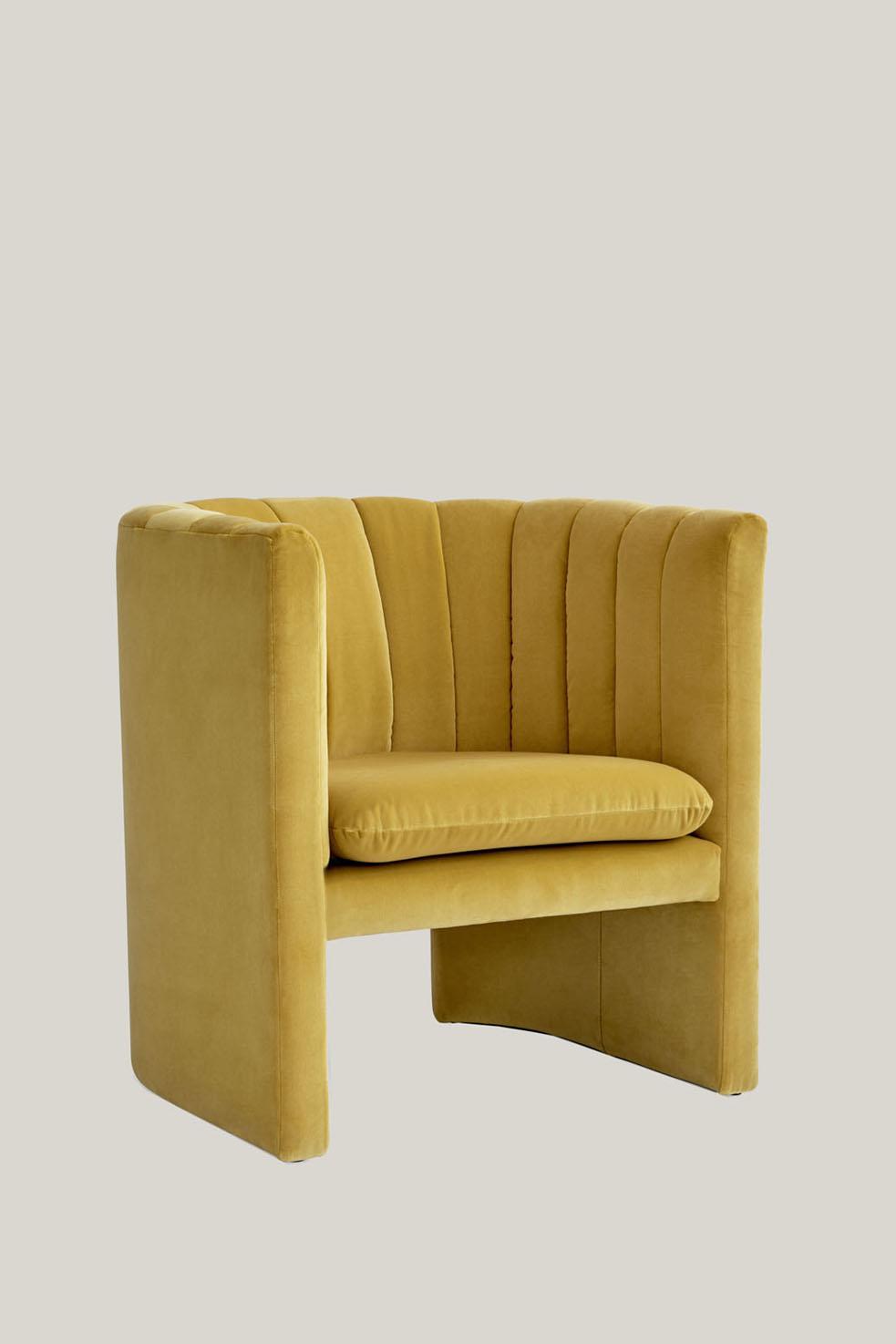 Loafer Chair SC23 Yellow Velvet