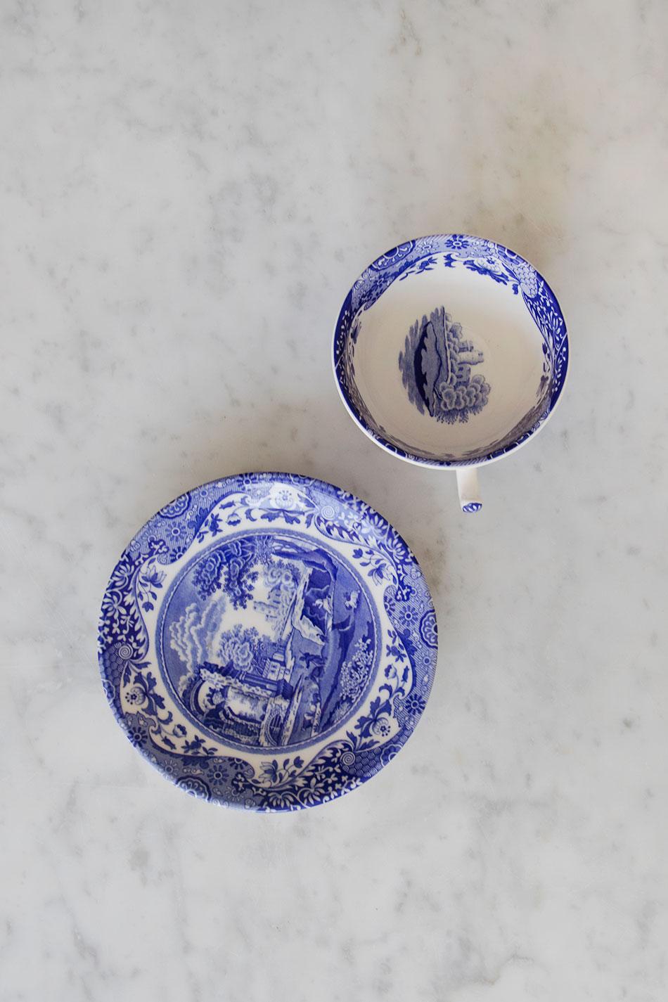 Blue Italian Cup & Saucer