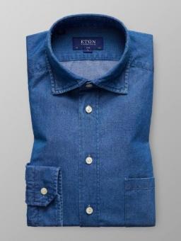Slim Fit Jeansskjorta Med Cut Away-Krage