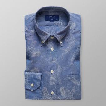 Slim Fit Koifiskmönstrad Jeansskjorta