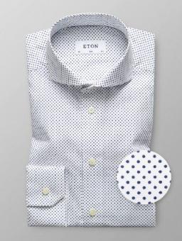 Slim Fit White/Navy Dot