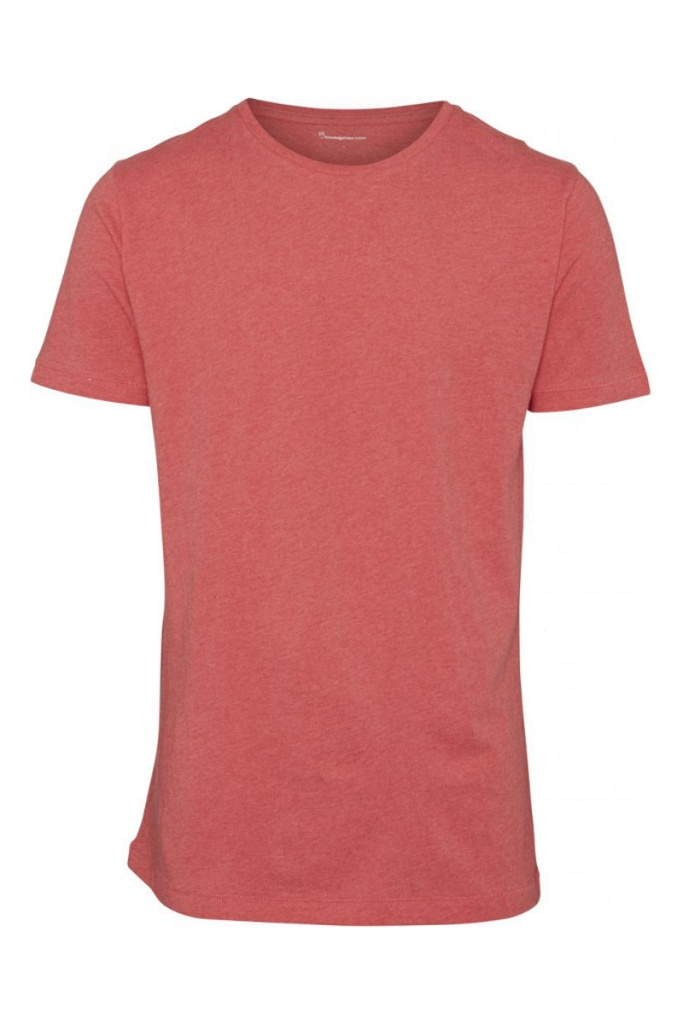 Basic Regular Fit O-Neck Tee - Coral Melange