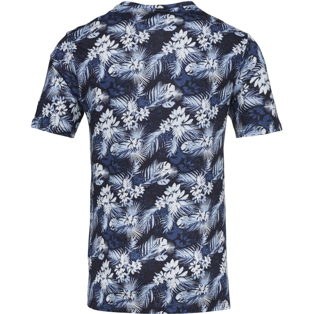 Linen T-shirt With All Over Print - Total Eclipse