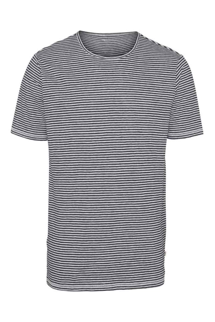 Narrow Striped Linen T-Shirt - Total Eclipse - L