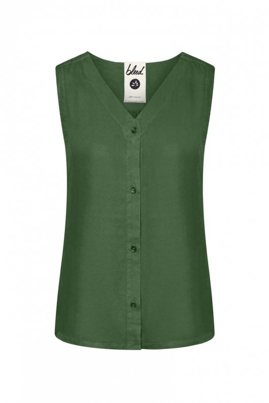 Light-Breeze TENCEL Blouse - Dark Green - S