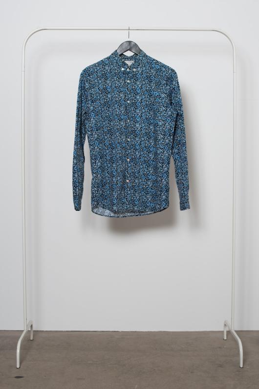 Reused Blommönstrad Skjorta - Blå - M