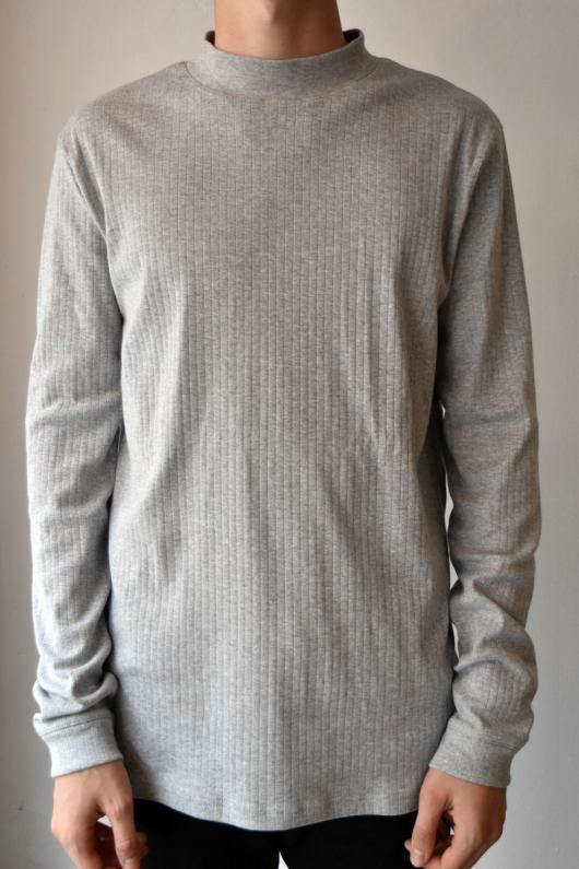 Rib Turtle Neck - Grey Melange - L