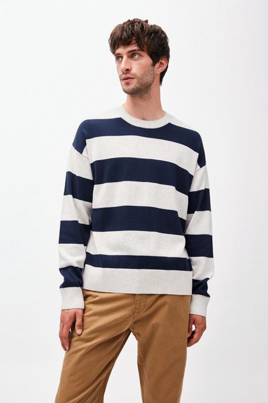 Steraa Stripes - Ecru Melange/Navy - S