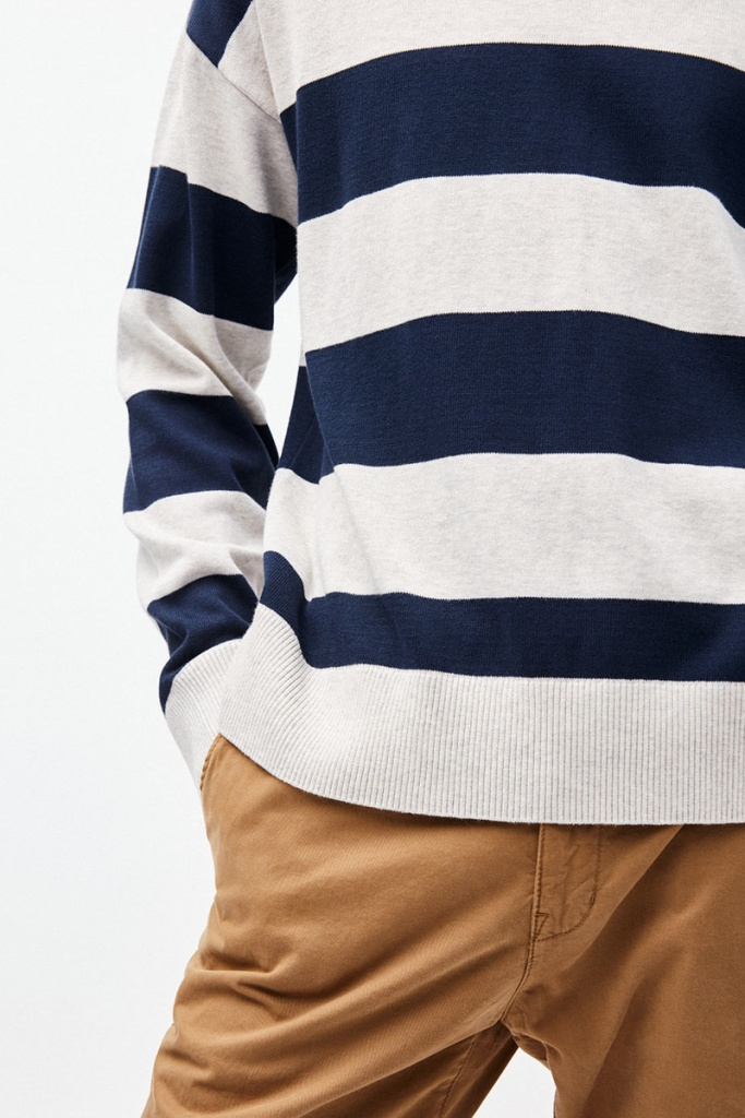 Steraa Stripes - Ecru Melange/Navy