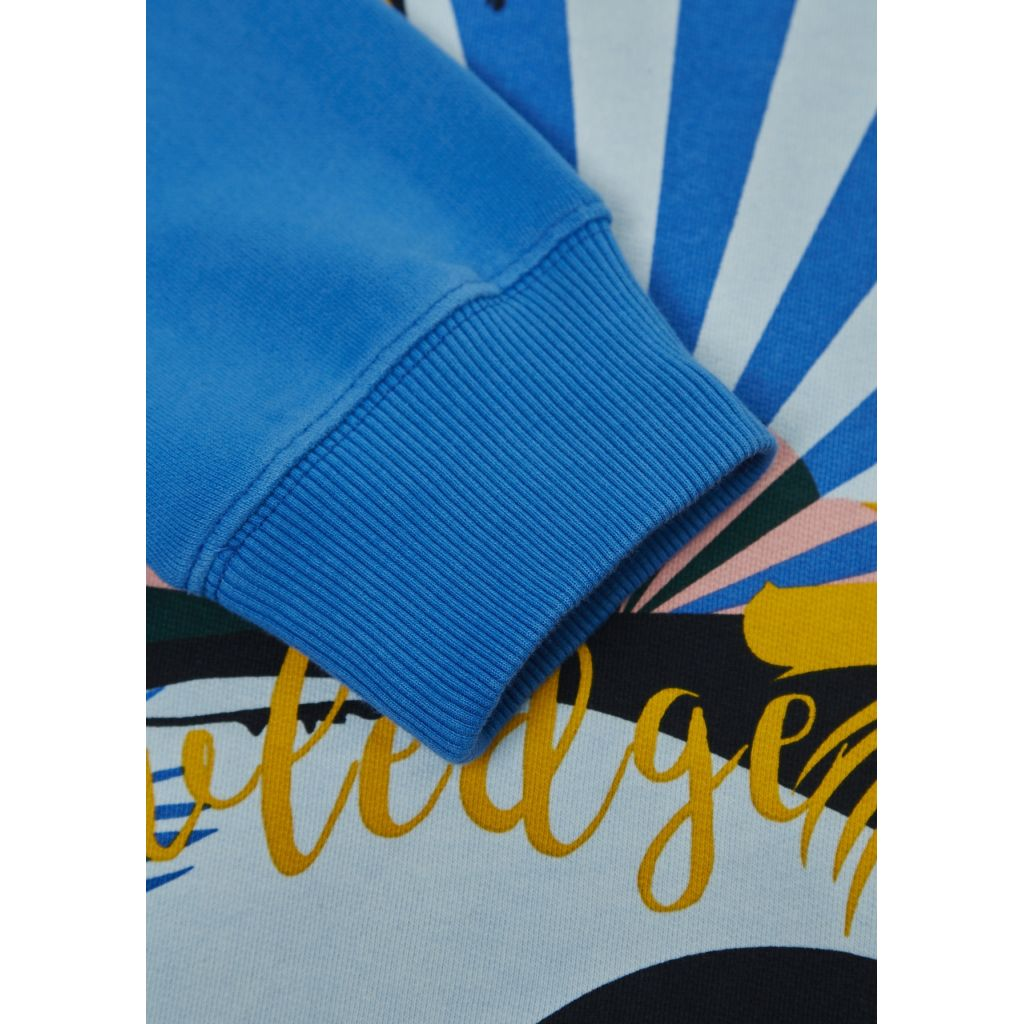 Sweat With Big Crazy Print - Strong Blue