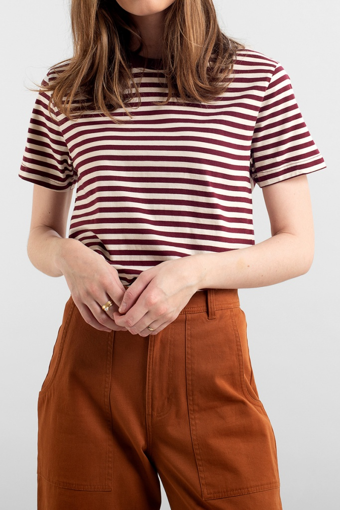 T-shirt Mysen Stripes - Burgundy - XS