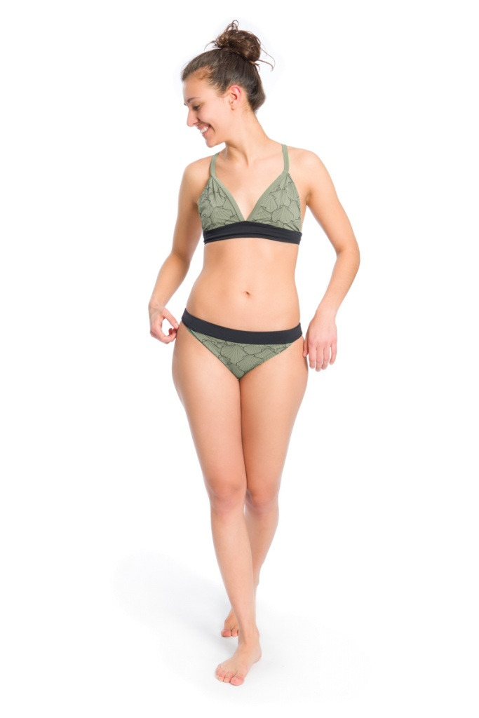 Eco Bikini Top - Olive/Black - L