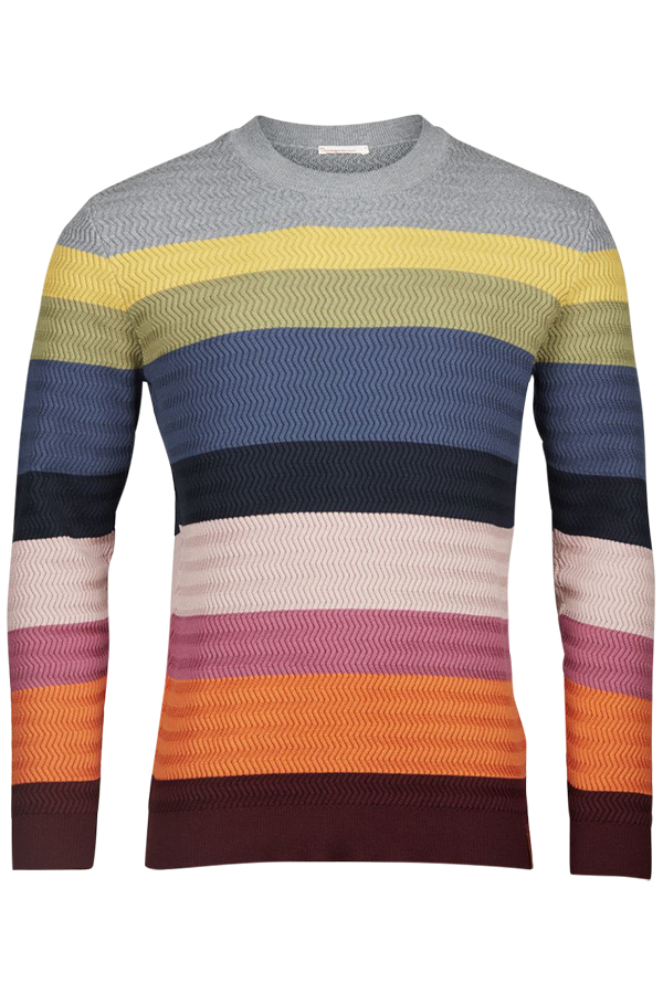 Multi color striped knit zig-zag