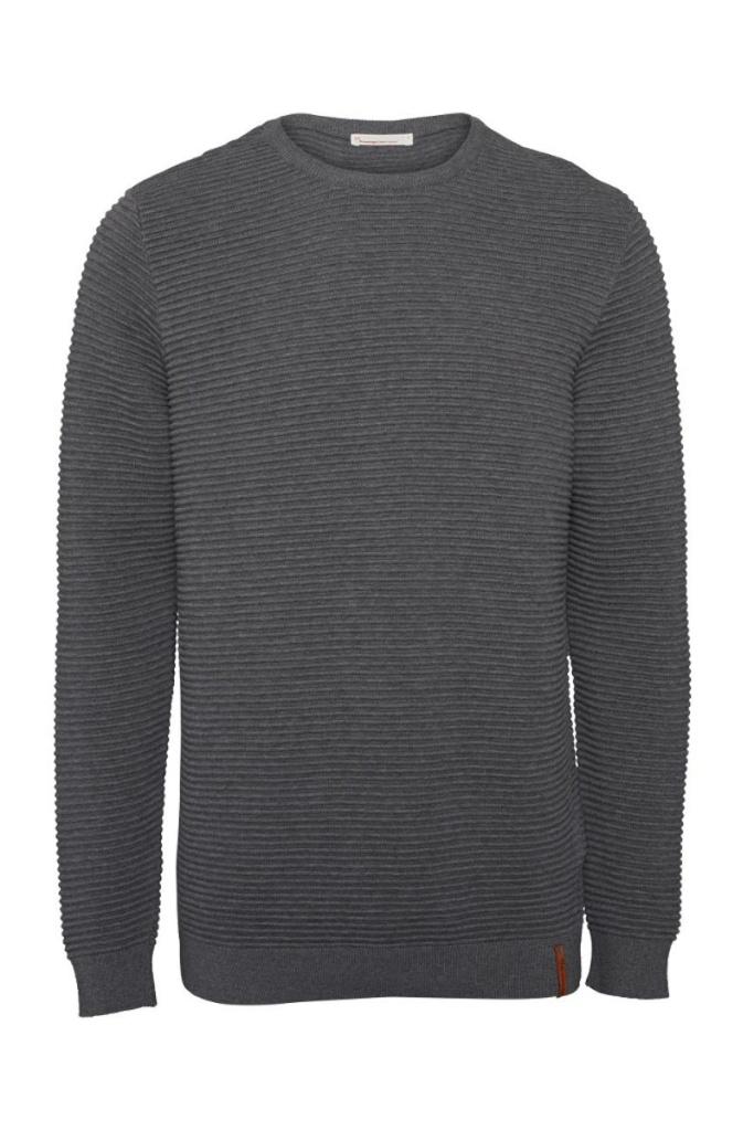 Wave O-neck Knit - Dark Grey Melange - L
