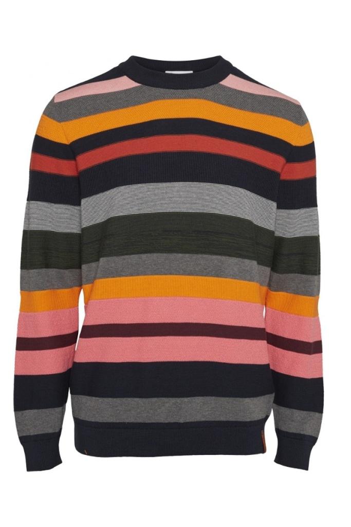 Striped O-Neck Knit - L